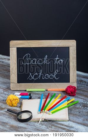 Back To School Background With Special School Supplies, End Of Holiday, New Start