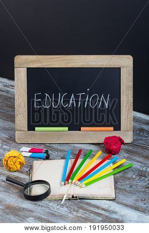 Education Background With Special School Supplies, End Of Holiday, New Start
