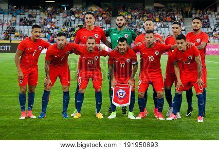 CLUJ-NAPOCA, ROMANIA - 13 JUNE 2017: Chile's national football team posing ahead of Romania vs Chile friendly, Cluj-Napoca, Romania - 13 June 2017