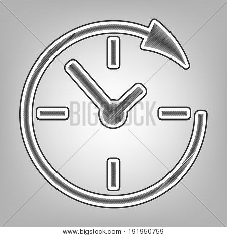 Service and support for customers around the clock and 24 hours. Vector. Pencil sketch imitation. Dark gray scribble icon with dark gray outer contour at gray background.