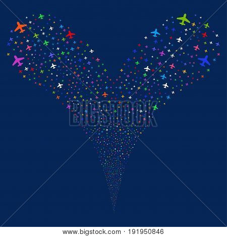 Airplane source stream. Vector illustration style is flat bright multicolored iconic airplane symbols on a blue background. Object fountain organized from random pictographs.