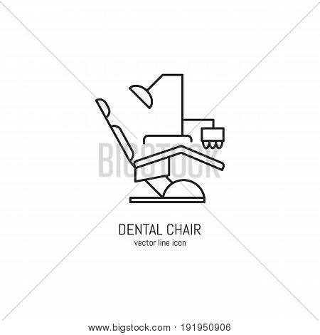 Vector dental chiar icon in trendy linear style. Dentistry equipment. Editable strokes