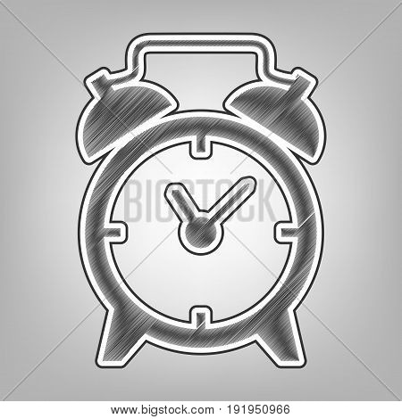 Alarm clock sign. Vector. Pencil sketch imitation. Dark gray scribble icon with dark gray outer contour at gray background.