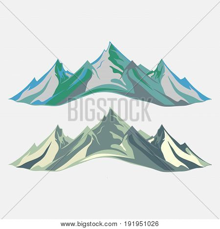 Mountaineering and Traveling Illustration. Landscape Mountain Peaks. Extreme Sports Vacation and Outdoor Recreation flat design