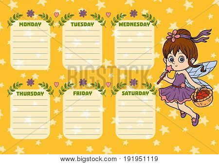 School Timetable For Children With Days Of Week. Color Cartoon Fairy
