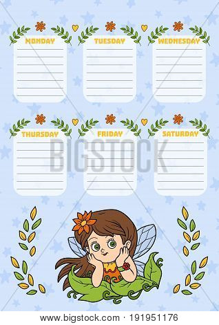 School timetable for children with days of week. Color cartoon fairy girl