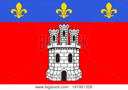 Flag of Castellane is a commune in the Alpes-de-Haute-Provence department in southeastern France. Vector illustration