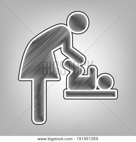 Women and baby symbol, baby changing. Vector. Pencil sketch imitation. Dark gray scribble icon with dark gray outer contour at gray background.