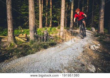 Mountain biker riding on bike in spring inspirational forest sunset landscape. Man cycling MTB on enduro trail track. Sport fitness motivation and inspiration.