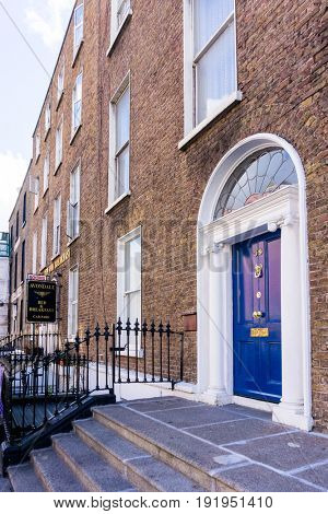 DUBLIN, IRELAND - March 31, 2017: Traditional antique city building in Dublin Ireland