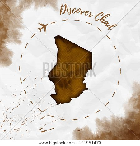 Chad Watercolor Map In Sepia Colors. Discover Chad Poster With Airplane Trace And Handpainted Waterc
