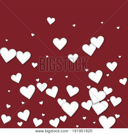 Cutout Paper Hearts. Bottom Gradient On Wine Red Background. Vector Illustration.