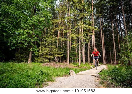 Mountain biker riding on bike in spring inspirational green forest landscape. Man cycling MTB on enduro trail track. Sport fitness motivation and inspiration.