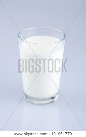 Glass of milk isolated on the light blue background