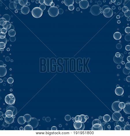 Random Soap Bubbles. Square Scattered Border With Random Soap Bubbles On Deep Blue Background. Vecto
