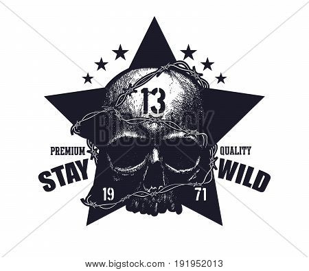 Typography vintage tee print design. Black and white skull. Great for concert poster or music album cover of rock band.