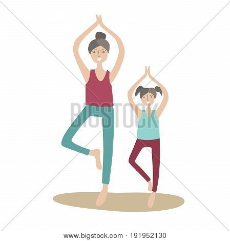 Mother and daughter practicing yoga standing on one leg. Family Sports and physical activity with children, joint active recreation. Vector illustration in flat style, isolated on white background.