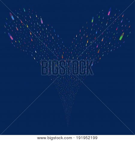 Ampoule source stream. Vector illustration style is flat bright multicolored iconic ampoule symbols on a blue background. Object fountain done from random design elements.