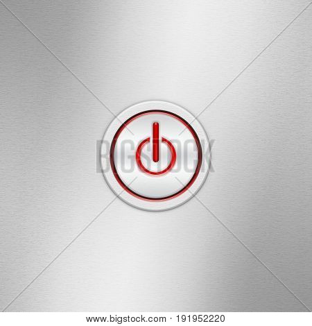 User interface switch button (On/Off). Power button on a brushed aluminum panel with symbol of energy start