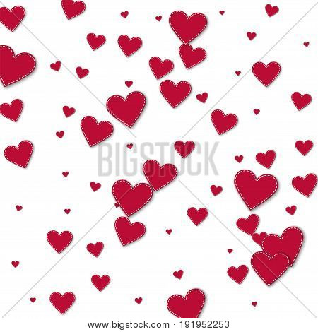 Red Stitched Paper Hearts. Scatter Vertical Lines With Red Stitched Paper Hearts On White Background