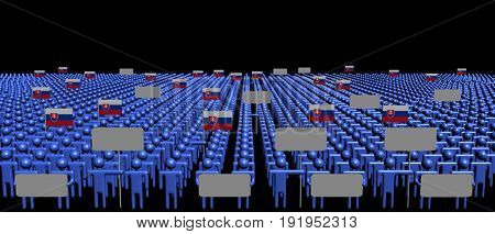 Crowd of people with signs and Slovakian flags 3d illustration
