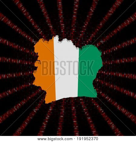 Ivory Coast map flag on red hex code burst 3d illustration