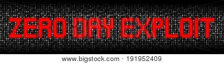 Zero Day Exploit text on hex code illustration