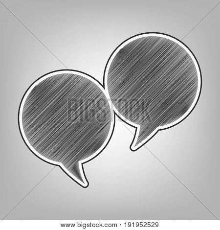 Two speech bubble sign. Vector. Pencil sketch imitation. Dark gray scribble icon with dark gray outer contour at gray background.