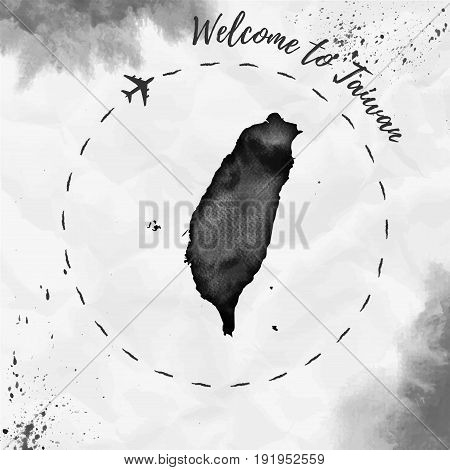 Taiwan Watercolor Map In Black Colors. Welcome To Taiwan Poster With Airplane Trace And Handpainted