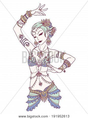 Vector Illustration of Tribal Dancer or Indian Dancer Girl in Hand Drawn Style.
