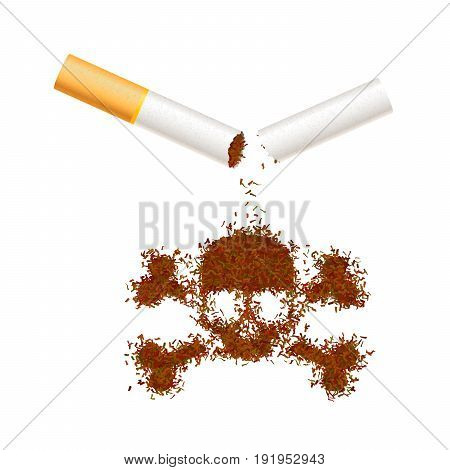 Broken realistic cigarette with tobacco leaves in skull sign. Smoking kills concept illustration isolated on white.