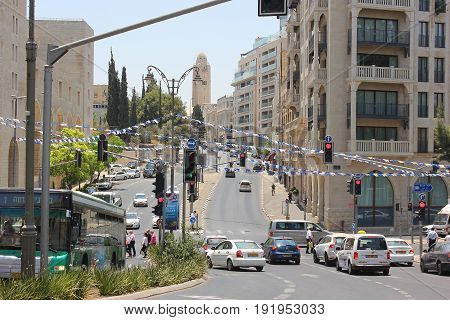 JERUSALEM, ISRAEL - June 15, 2017: view of the King David street, one of the most famous streets in the heart of the city of Jerusalem, Israel