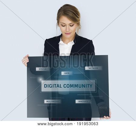 Woman holding banner of global communication connection technology