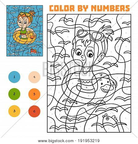 Color by number, education game for children, Swimming girl