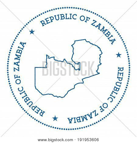 Zambia Vector Map Sticker. Hipster And Retro Style Badge With Zambia Map. Minimalistic Insignia With