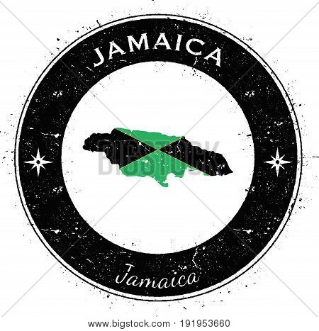 Jamaica Circular Patriotic Badge. Grunge Rubber Stamp With National Flag, Map And The Jamaica Writte