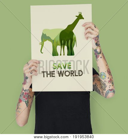 Save Wildlife Protect World Concept