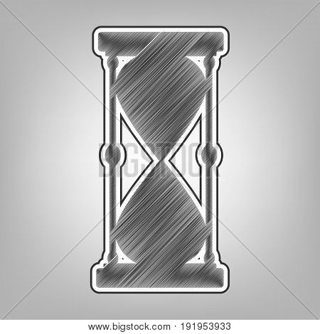 Hourglass sign illustration. Vector. Pencil sketch imitation. Dark gray scribble icon with dark gray outer contour at gray background.