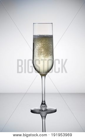 Glass of white champagne wine on table