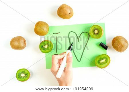 Exotic Fruit Design With Kiwi On White Background Top View Pattern