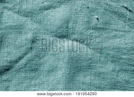 Cyan Color Hessian Sack Cloth Texture.