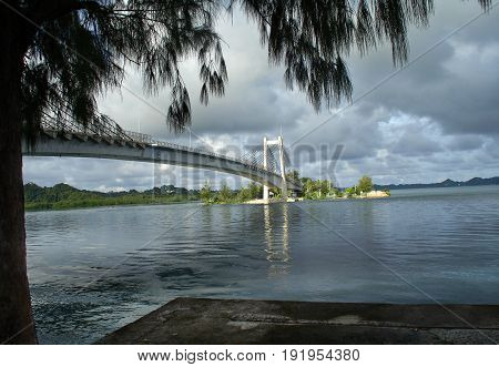 Japan-Palau Friendship Bridge, Koror Part of the Japan-Palau Friendship Bridge, popularly known as KB Bridge, with one end in Koror state, Palau, seen from the Airai state side