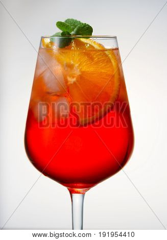 Glass of spritz coctail long drink close up