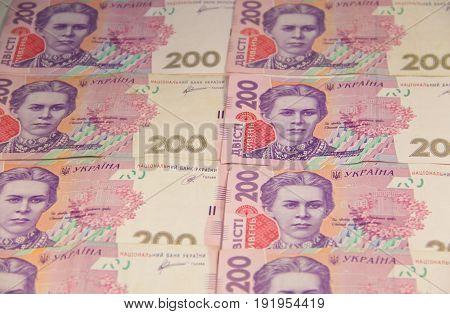 Ukrainian money. Background of the two hundred hryvnia banknotes