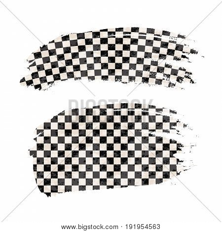 Grunge brush stroke with finish flag isolated on white