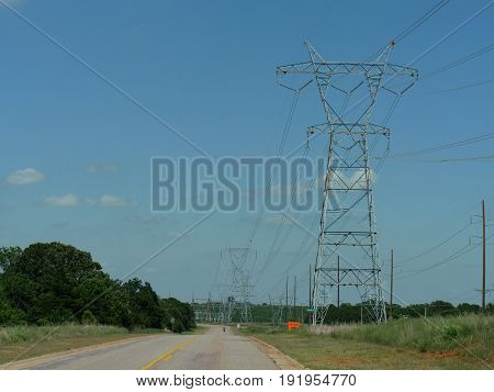 Electric power poles High voltage electrical power poles along a national highway