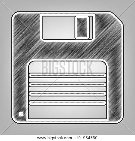 Floppy disk sign. Vector. Pencil sketch imitation. Dark gray scribble icon with dark gray outer contour at gray background.