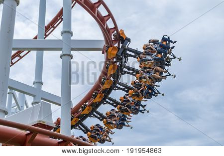Pathumthani Thailand - June 18 2017: Tourists and Sky Coaster at Dream World Theme Park.
