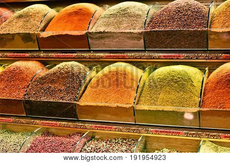 Variety Of Spices On The Grand Bazaar In Istanbul, Turkey
