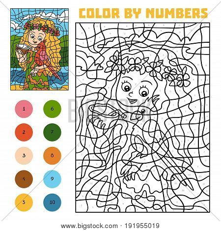 Color By Number For Children, Girl With A Parrot